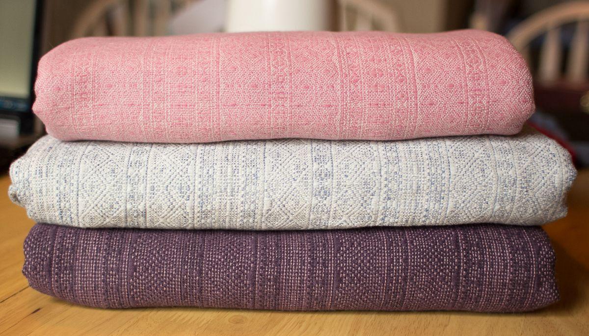 Indios - Puder Silk (top), Blue Fog (middle - cotton / linen / silk), Purple Alpaca (bottom)
