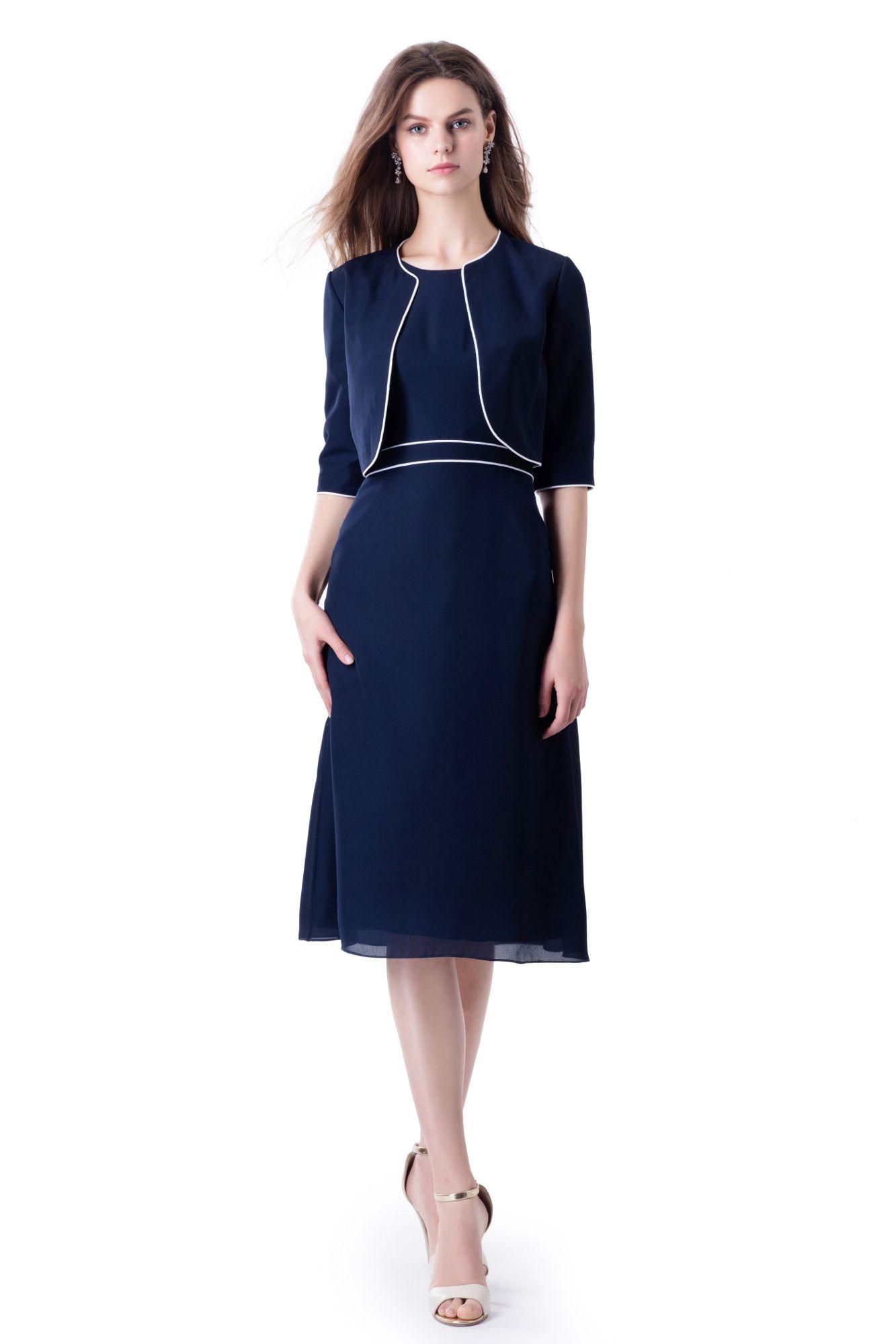Kleid Mit Jacke In Klassischem Dunkleblau Ideal Fur Hochzeitsgaste Oder Brautmutter Kleid Mit Jacke Abendkleid Mantel Kleid