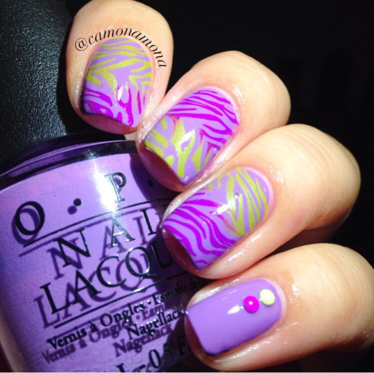 OPI a grape fit and stamping nail art zebra nails