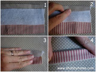 Shabby Home: TUTORIAL MANICI BICOLORE - TUTORIAL: HOW TO SEW A STRAP WITH TWO DIFFERENT COLOURED FABRICS
