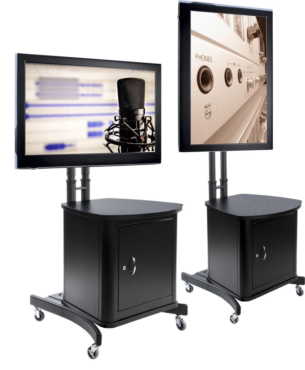 Tv Stand W Locking Cabinet Fits Monitors 32 65 Collapsible W