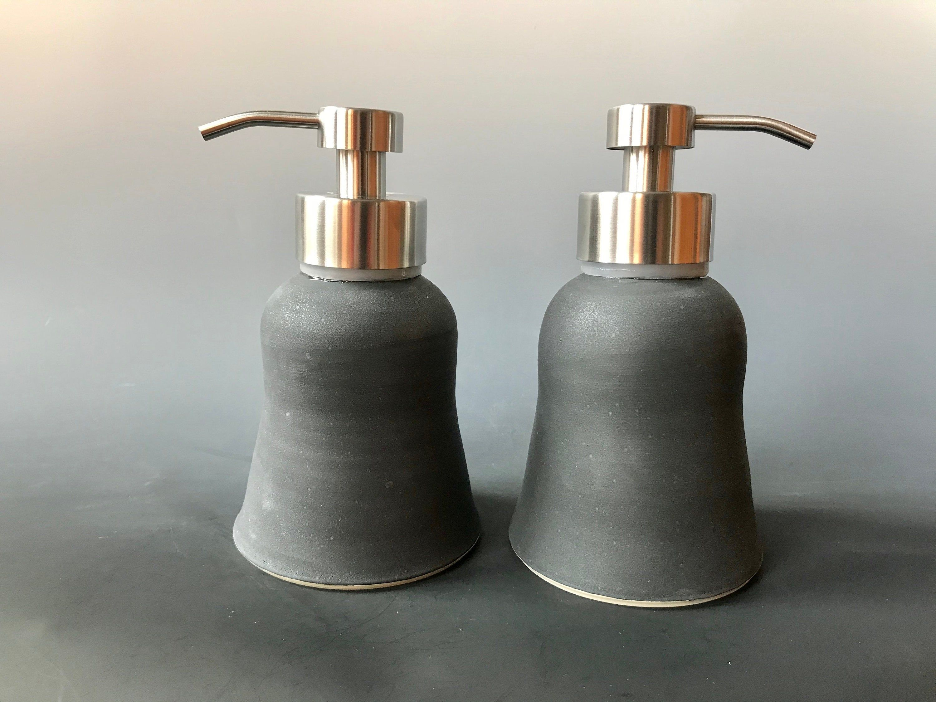 Matte Black Foaming Ceramic Soap Dispenser Stainless Steel