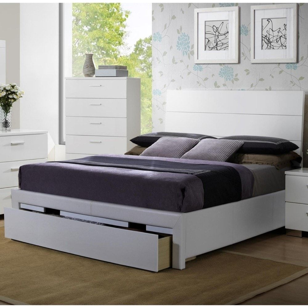 Swanky Wooden E.King Bed With Side Rail And Storage, White