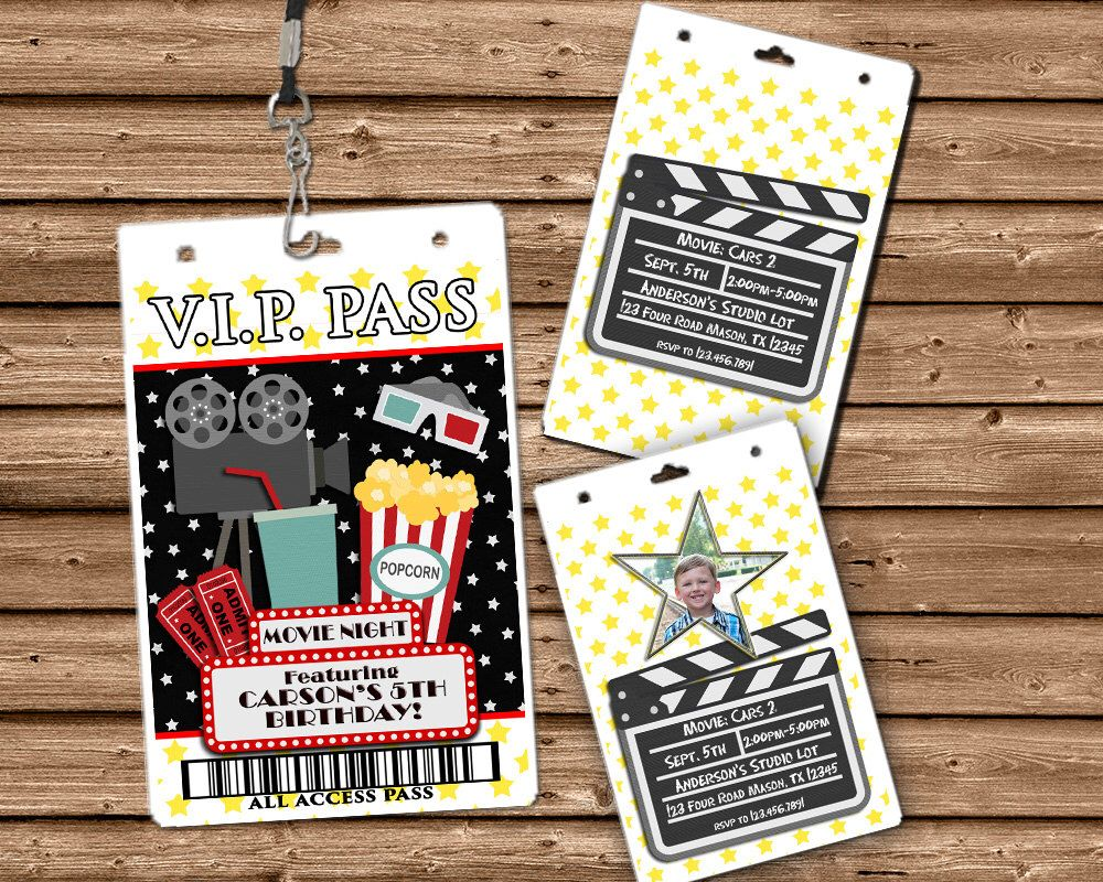 Movie Night VIP Pass Invitation - Movie Invitation - Vip Lanyard ...