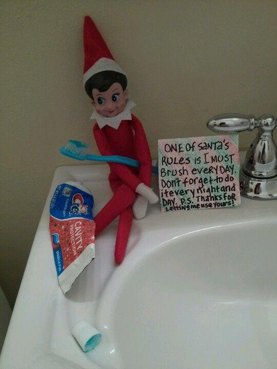 Elf  on shelf ideas  good idea  making brushing teeth