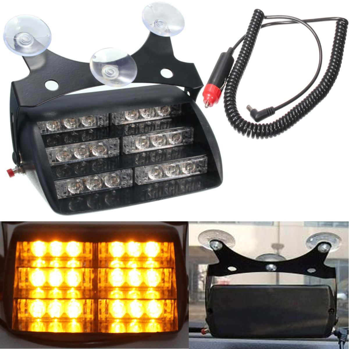 Luz Led Intermitente Coche 18 Led Amarilla Luz De Advertencia Intermitente Suv Carro De
