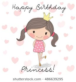 Happy Birthday Card With Cute Little Princess Cumpleanos