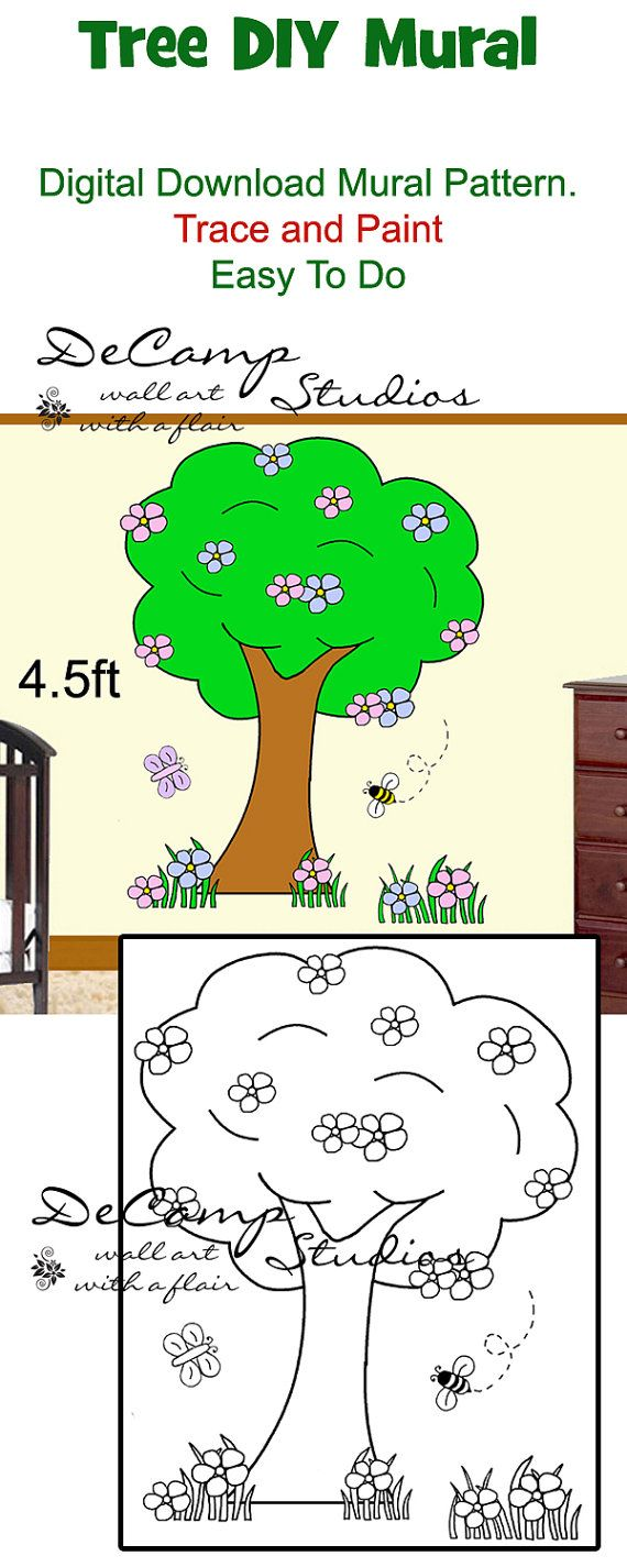 Children s murals diy paint by number wall murals - Diy Tree Mural Wall Pattern Printable Digital Download Trace Paint By Number Baby Girl Barnyard Bee Nursery Room Kids Childrens Art Decor