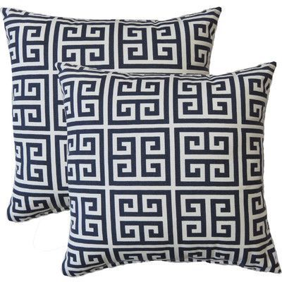62759af1f73 Fox Hill Trading Premiere Home Greek Key Throw Pillow   Reviews ...