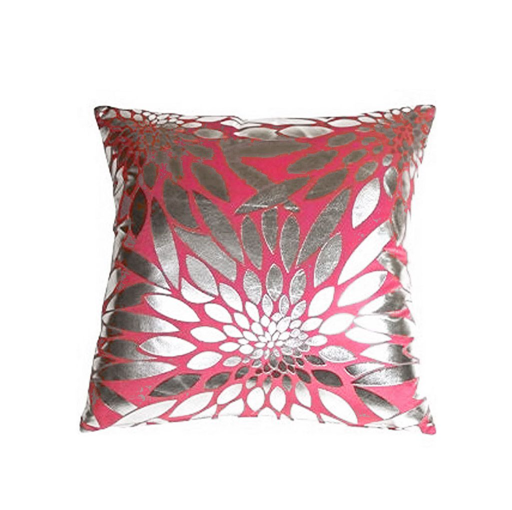 Silver & Pink Square Pillow