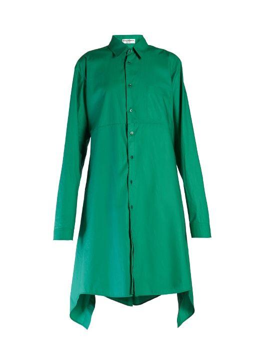 BALENCIAGA Fold-back cotton-poplin shirtdress. #balenciaga #cloth #shirtdress