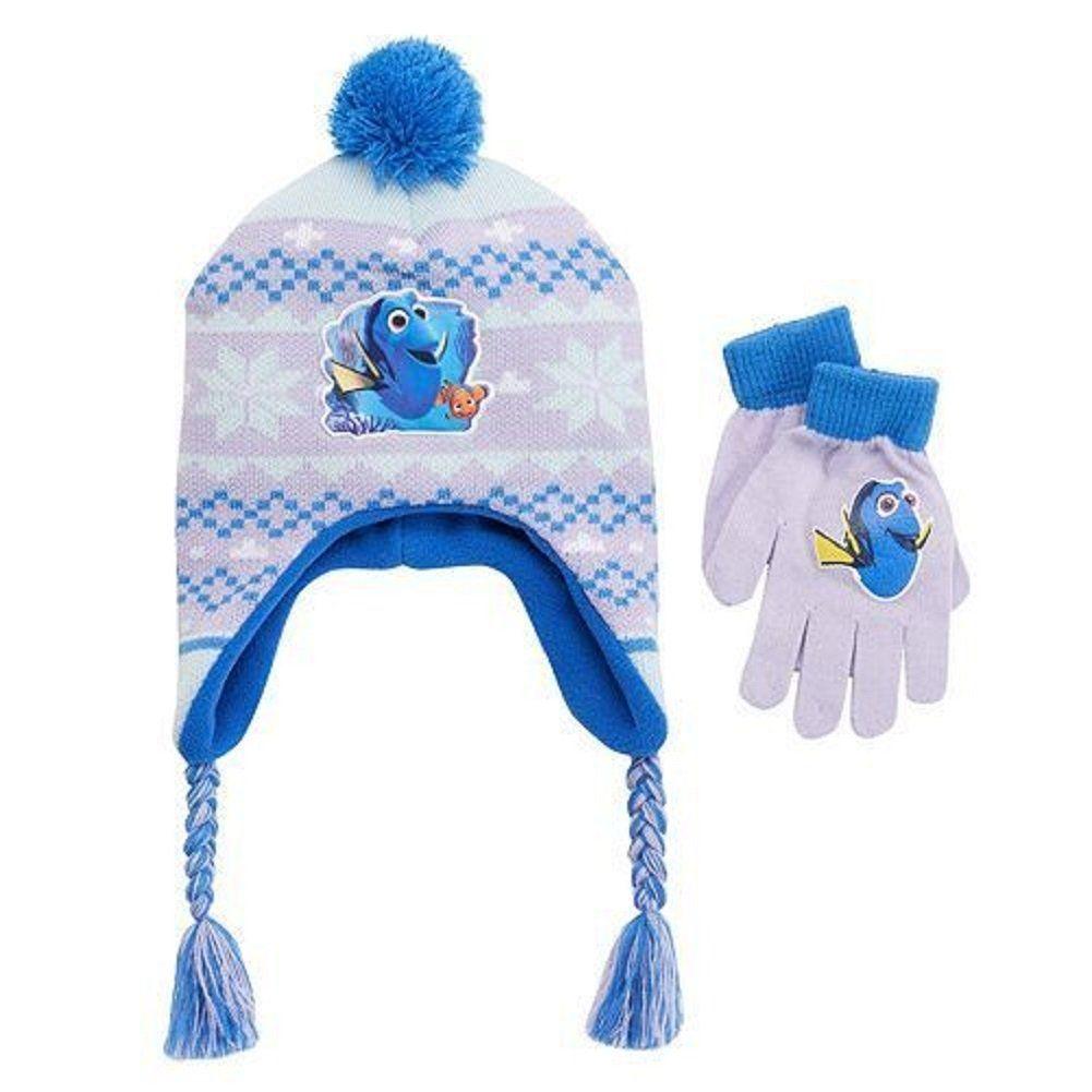 86e2a708114 Disney Finding Dory Girls Nemo Fairisle Pom-pom Earflap Hat   Gloves Set.  Finding