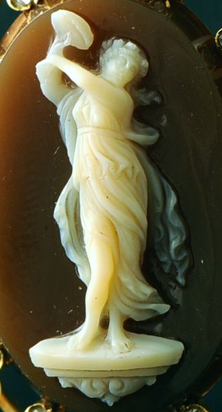 A 19th century agate cameo of a Maenad.