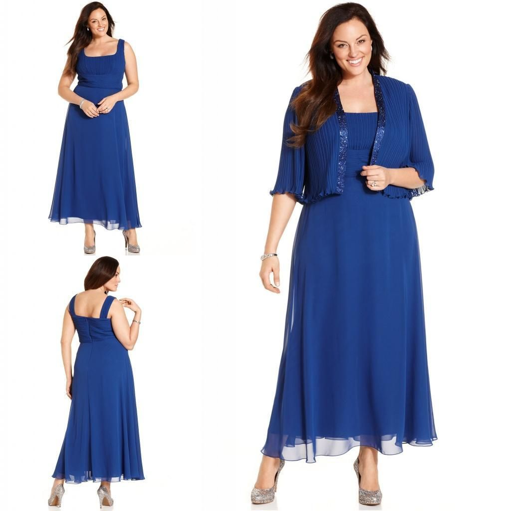 Plus size elegant blue mother of the bridal dresses with jacket