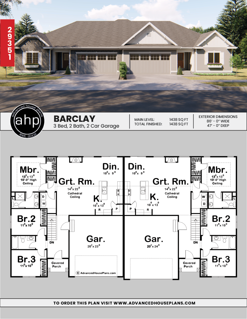 1 Story Multi Family Craftsman House Plan Barclay Family House Plans Duplex Floor Plans Duplex House Plans