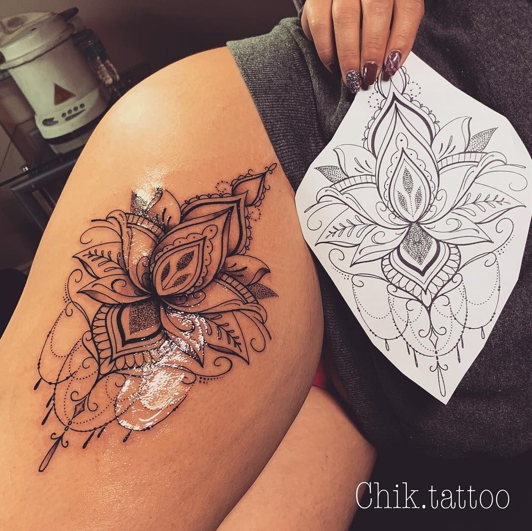 Awesome Mandala Flower Tattoo On Thigh Thigh Tattoos Women