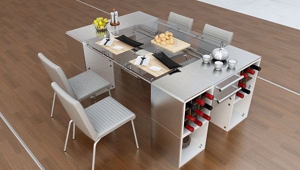 Need Wine For Dinner Just Reach Around The Corner Of The Table 22 Space Space Saving Furniturekitchen