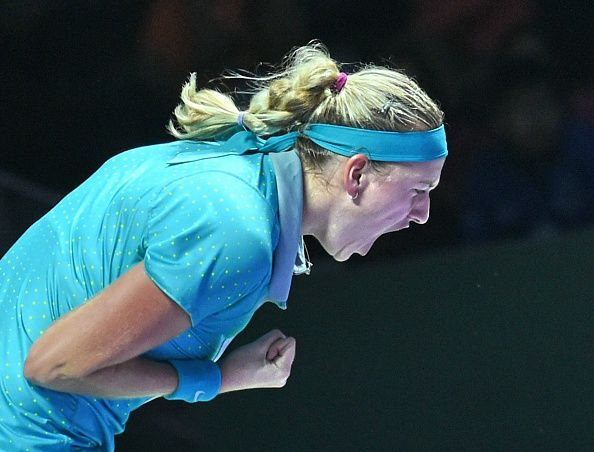 """10/23/14 Petra Kvitova beats Maria Sharapova 6-3, 6-2 in #WhiteGroup Round Robin. Petra keeps #WTAFinals Singapore hopes alive upsetting Maria for the 1st time in 3 years. Next up is group leader Caroline Wozniacki, who Petra has not played in 2014.  PETRA: """"I love to play indoors – it's pretty fast, no sun, no wind. It suits my game. I'm glad that I won today and I'm looking forward to tomorrow."""""""