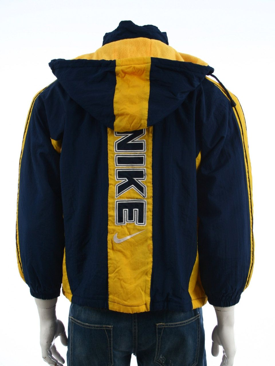984b0a827d Vintage 90s Nike Swoosh Big logo Spell Out Quilted Winter jacket Color  Block Blue Yellow Size S by VapeoVintage on Etsy