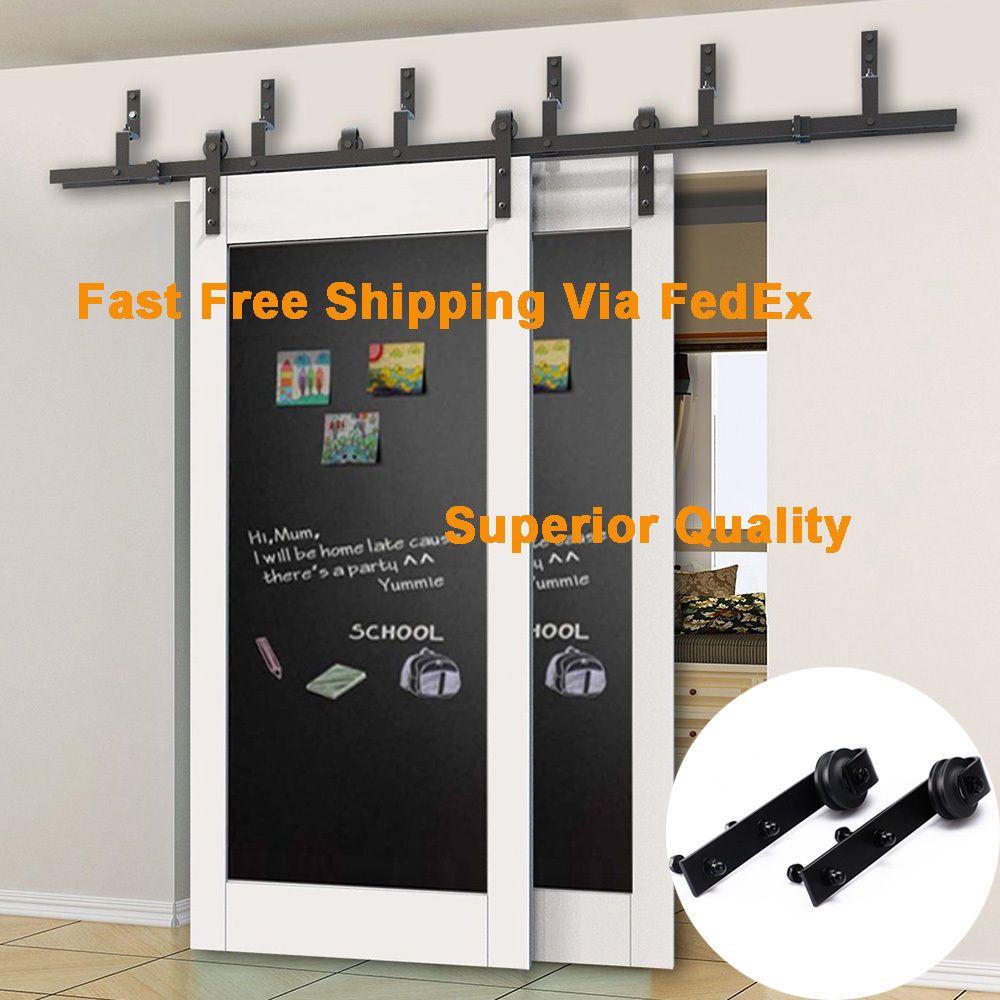 5//6//6.6//8//10FT Bypass Sliding Barn Door Hardware Closet Steel Flat Track Kit