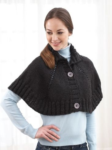 Top Down Button Front Capelet Yarn Free Knitting Patterns