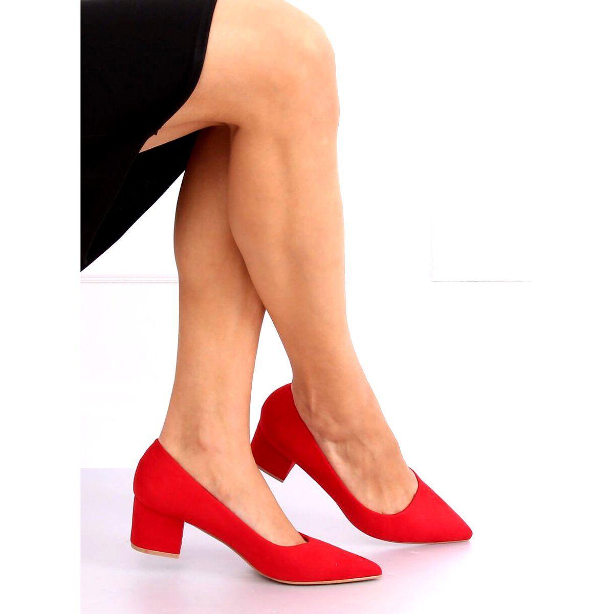 Czolenka Na Niskim Obcasie Czerwone A 3370 Red Heels Fashion Shoes