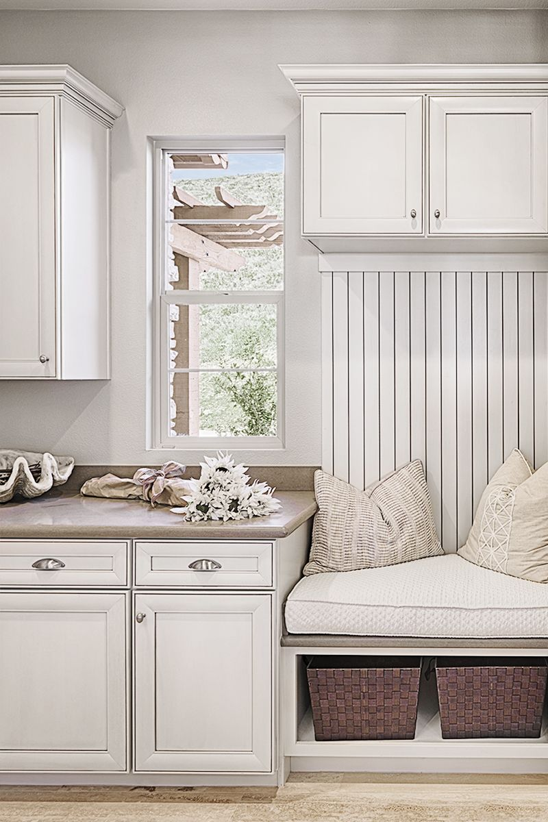 Storage Seating A Spot To Put Your Keys Rockwell Model Home Mudroom San Marcos Ca Richmond Ame Richmond American Homes Model Homes House Inspiration
