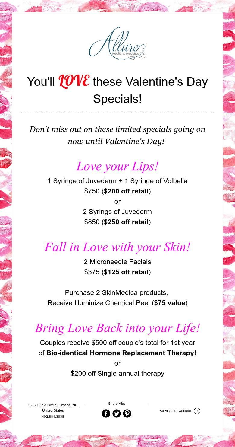 You Ll Love These Valentine S Day Specials Spa Specials Day Spa Specials Valentine Day Special