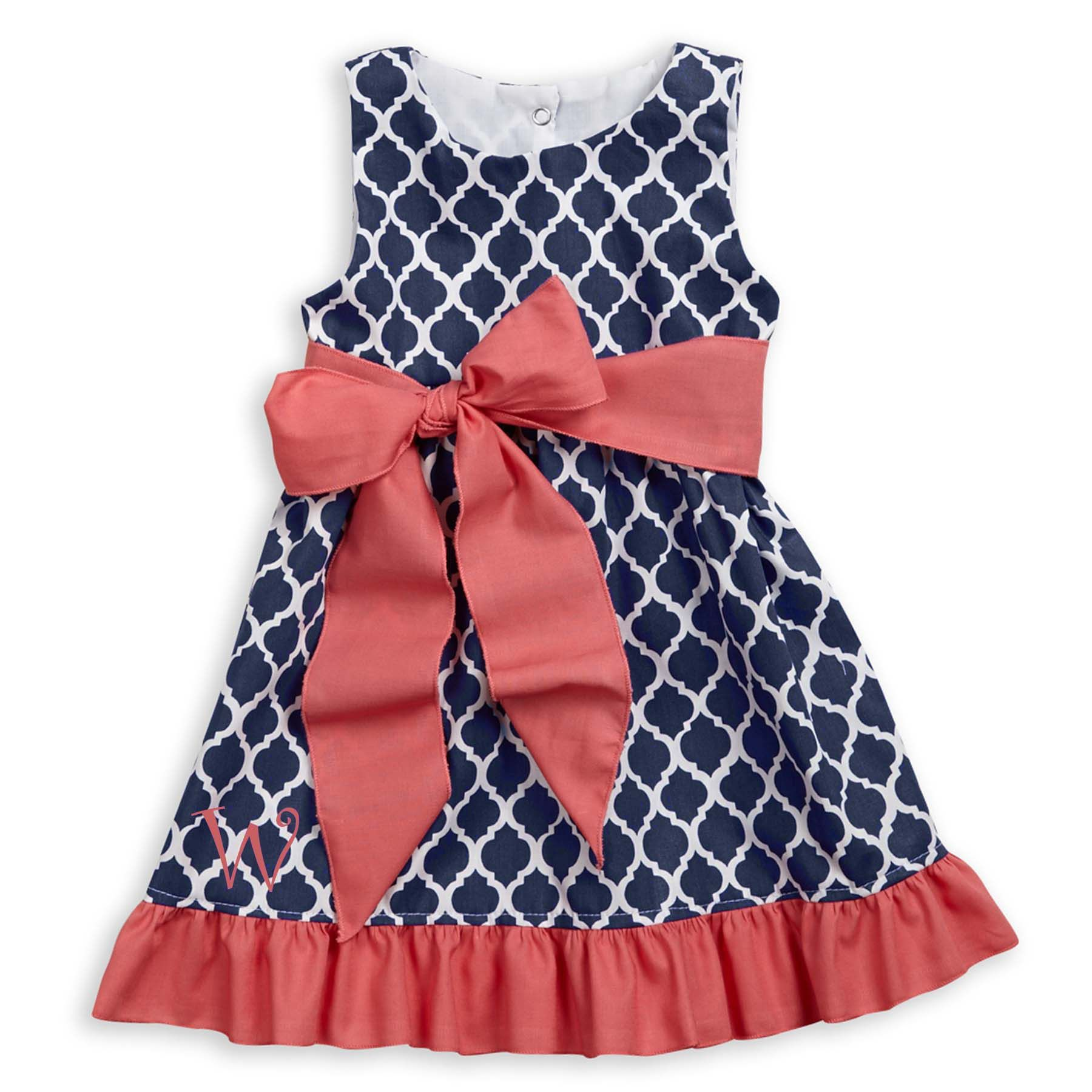 6da4e8caef4 Love this Girls Navy Lattice Coral Sash Ava Dress I discovered at  lollywollydoodle.