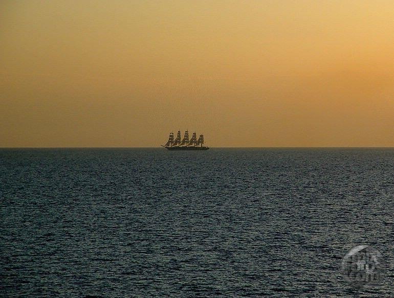 Sails at Sunset - Mediterranean Sea