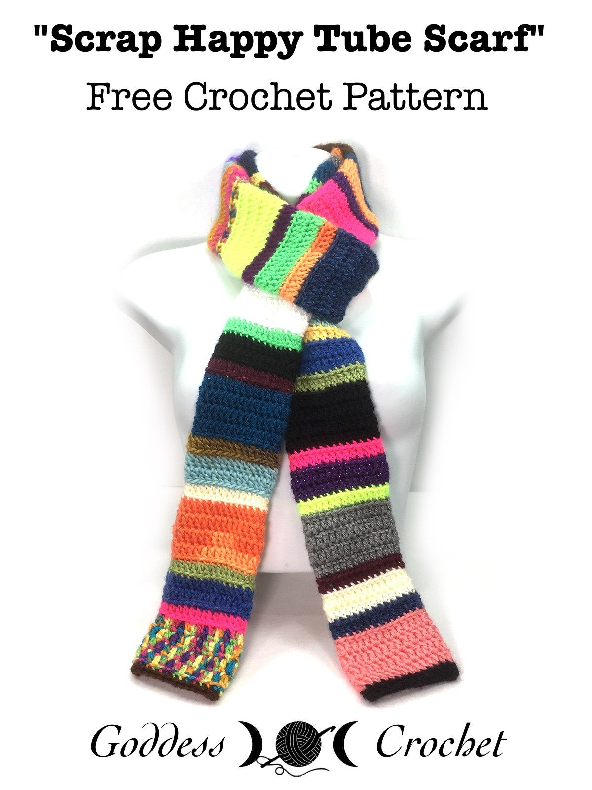 Scrap Happy Tube Scarf – Free Crochet Pattern | Crochet | Pinterest ...