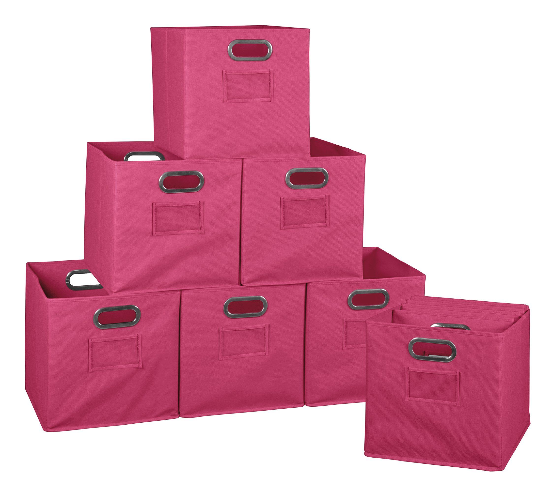 Pink Bins Niche Cubo Set Of 12 Foldable Fabric Storage Bins Pink Products