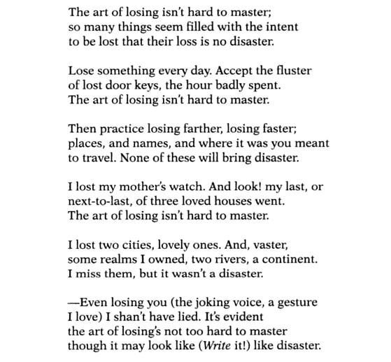 thesis statement one art elizabeth bishop This thesis examines elizabeth bishop's seemingly understated and yet nuanced poetry with a specific focus on loss, love, and language through domesticity to create a poetic home.