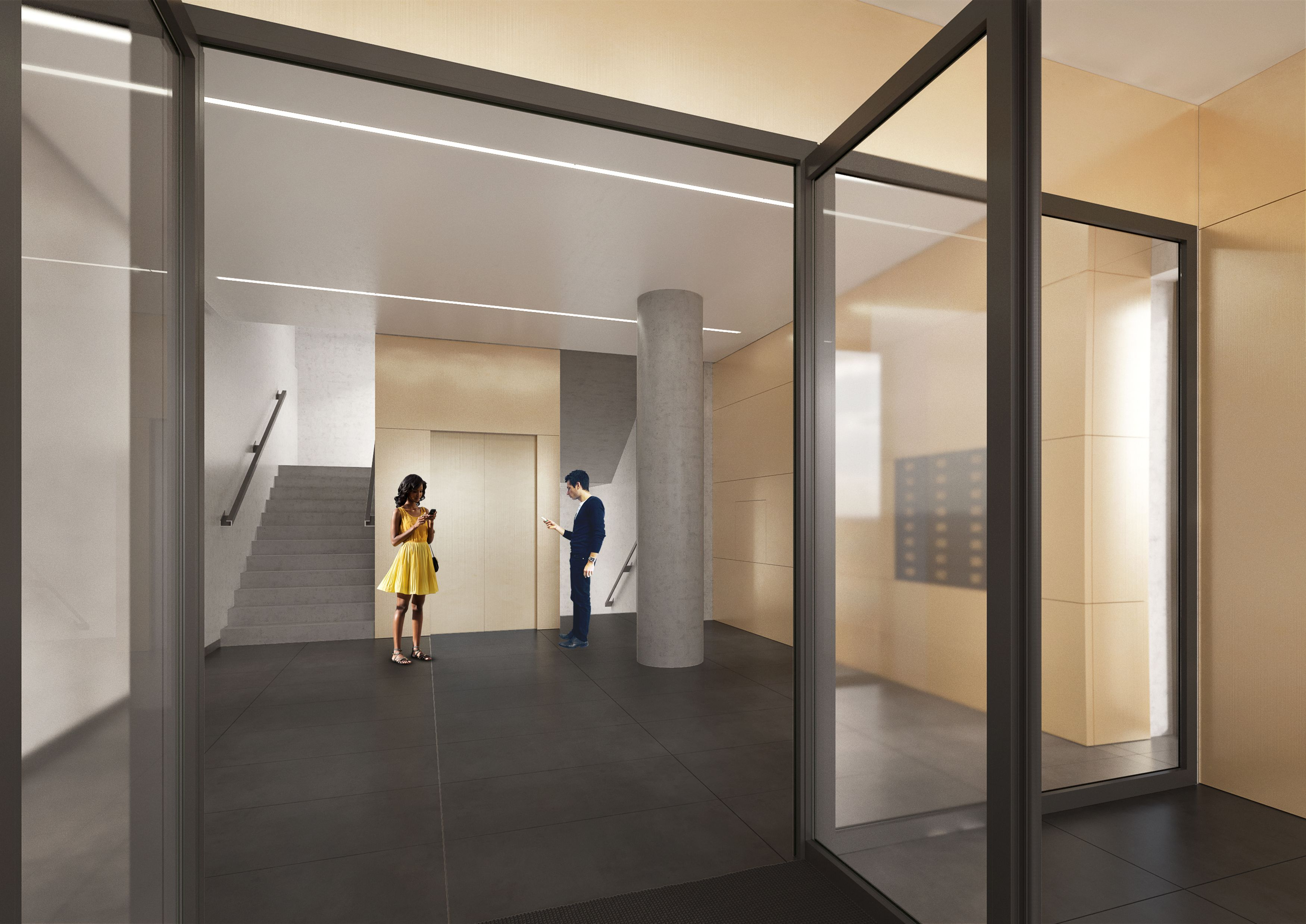 Entrance space in MG8 building. Design by Easst.com. 2017