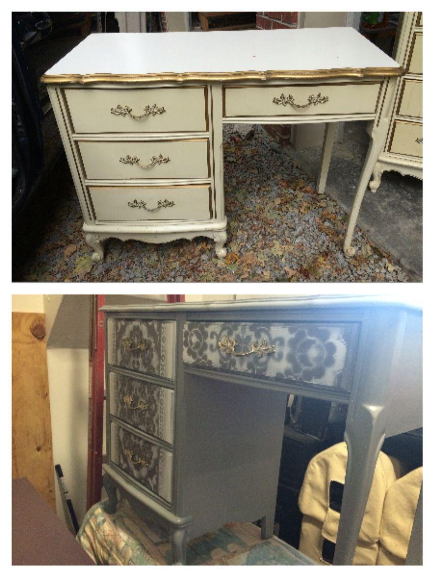 Antique White Gold Desk Changed Into A Cool Grey With Stencils Gold Desk Restored Dresser Desk
