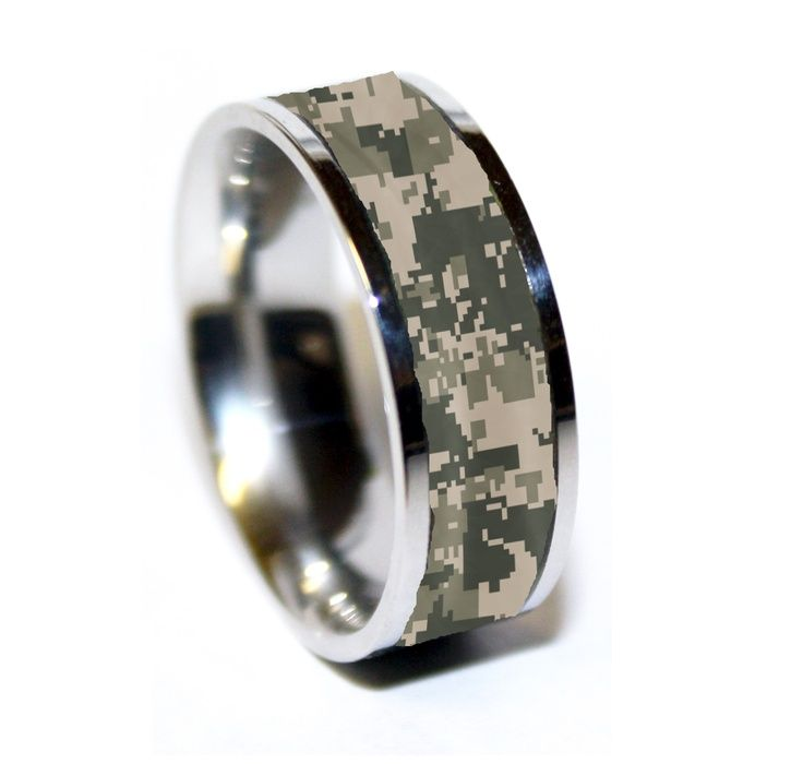 Army Tungsten Ring Camo Military Wedding Band Camouflage Marpat
