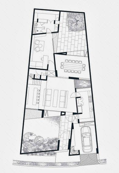 Diseño y planos de una casa en terreno con forma irregular | Planos ...