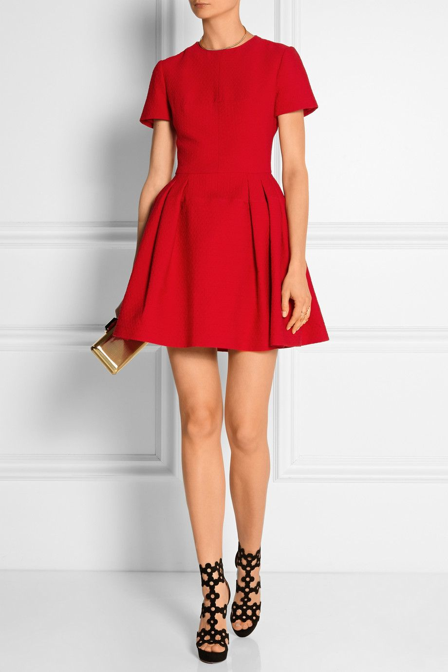 Alexander McQueen Dress|Alaïa | Laser-cut suede sandals| Kotur Clutch