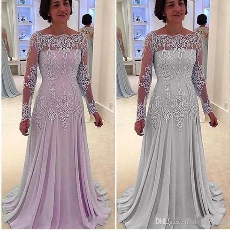 2020 Light Sky Blue Sheer Long Sleeves Mother Of Bride Groom Dresses Sheath Chiffon Lace Appliques Elegant Mother Dresses For Weddings Mother Of The Bride Plus Mother Of The Groom