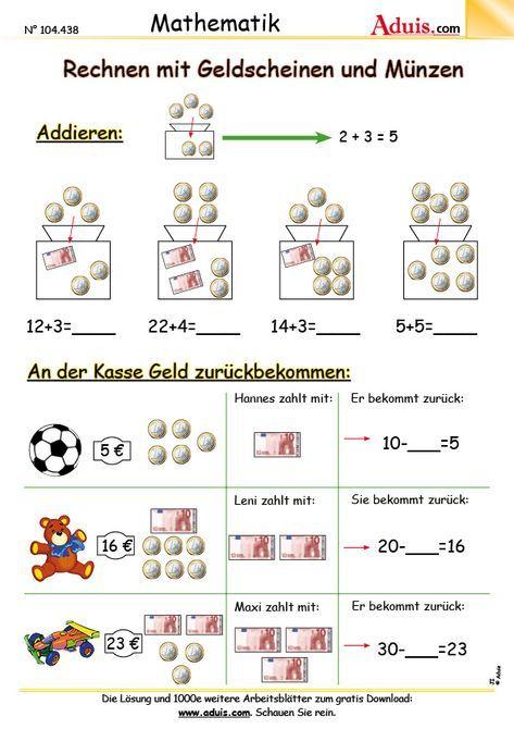 Euro & Cent - Arbeitsblätter   Mathematik   Größen   schule ...
