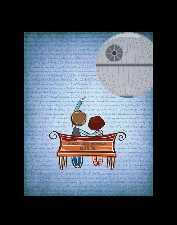 Lyrics Star Wars Wedding Anniversary Gift Han Solo And Princess Leia Paper