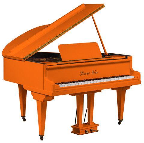 Orange High Gloss Baby Grand Piano - Tesoro Nero - 1