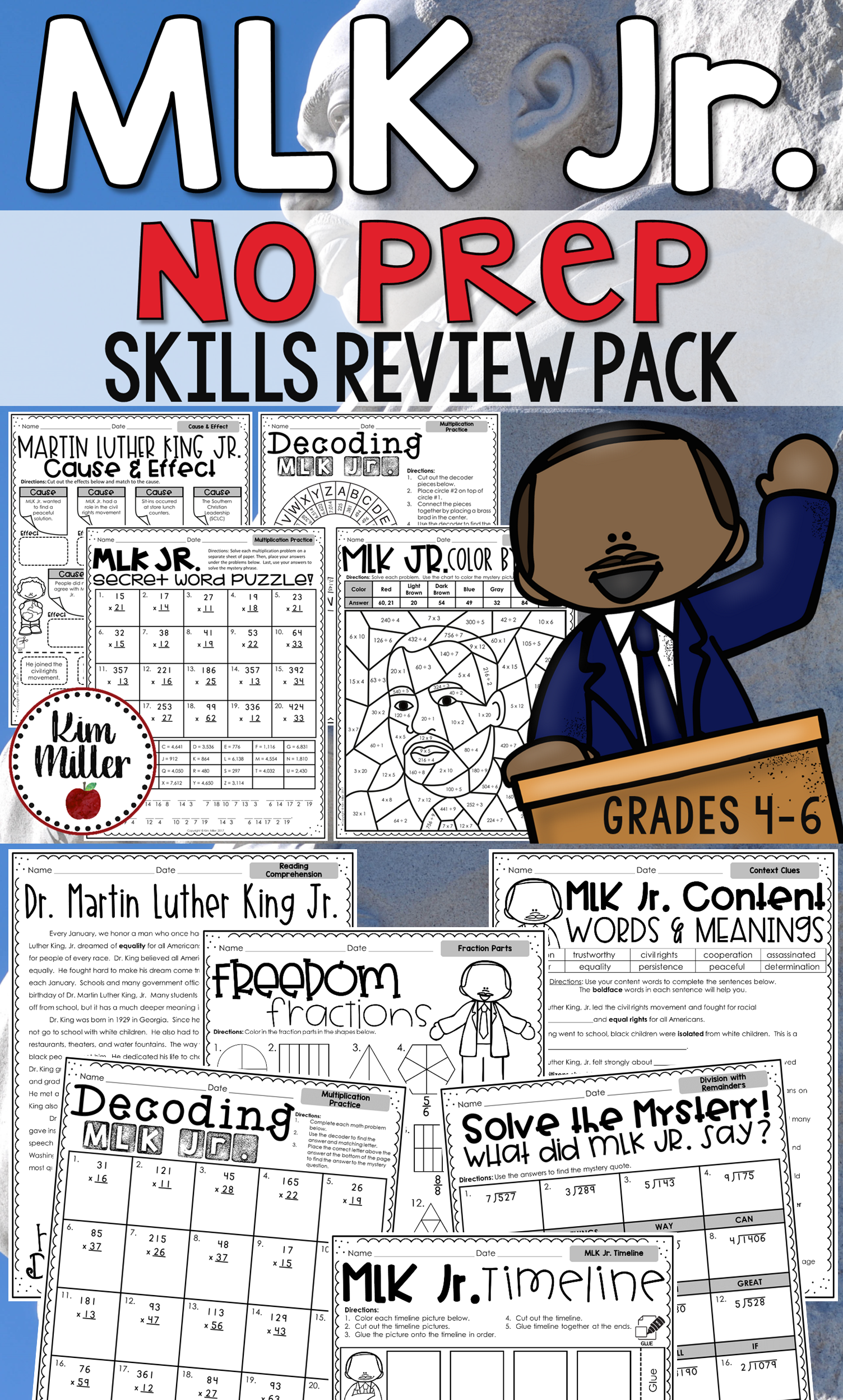 Martin Luther King Jr No Prep Skills Review Pack