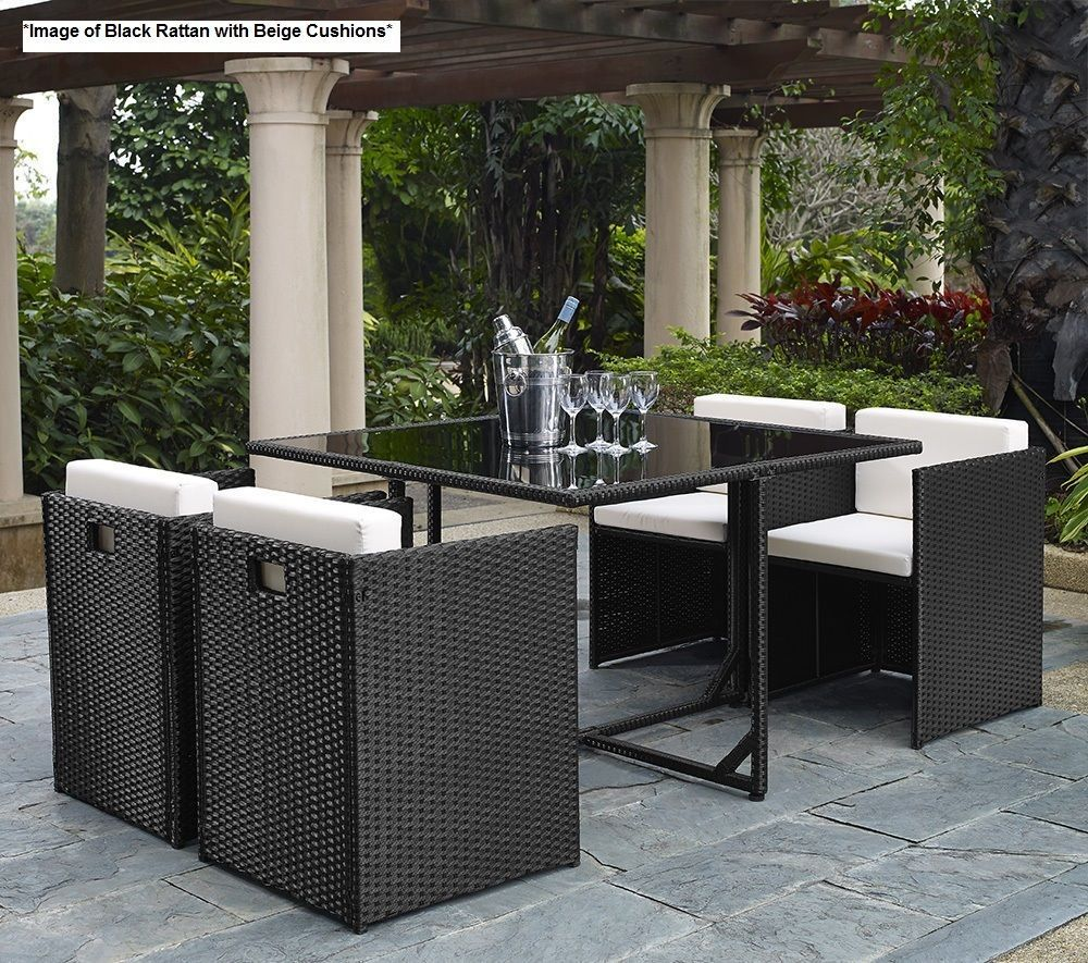 St Lucia 5 Piece Table and 4 Chairs Cube Rattan Outdoor