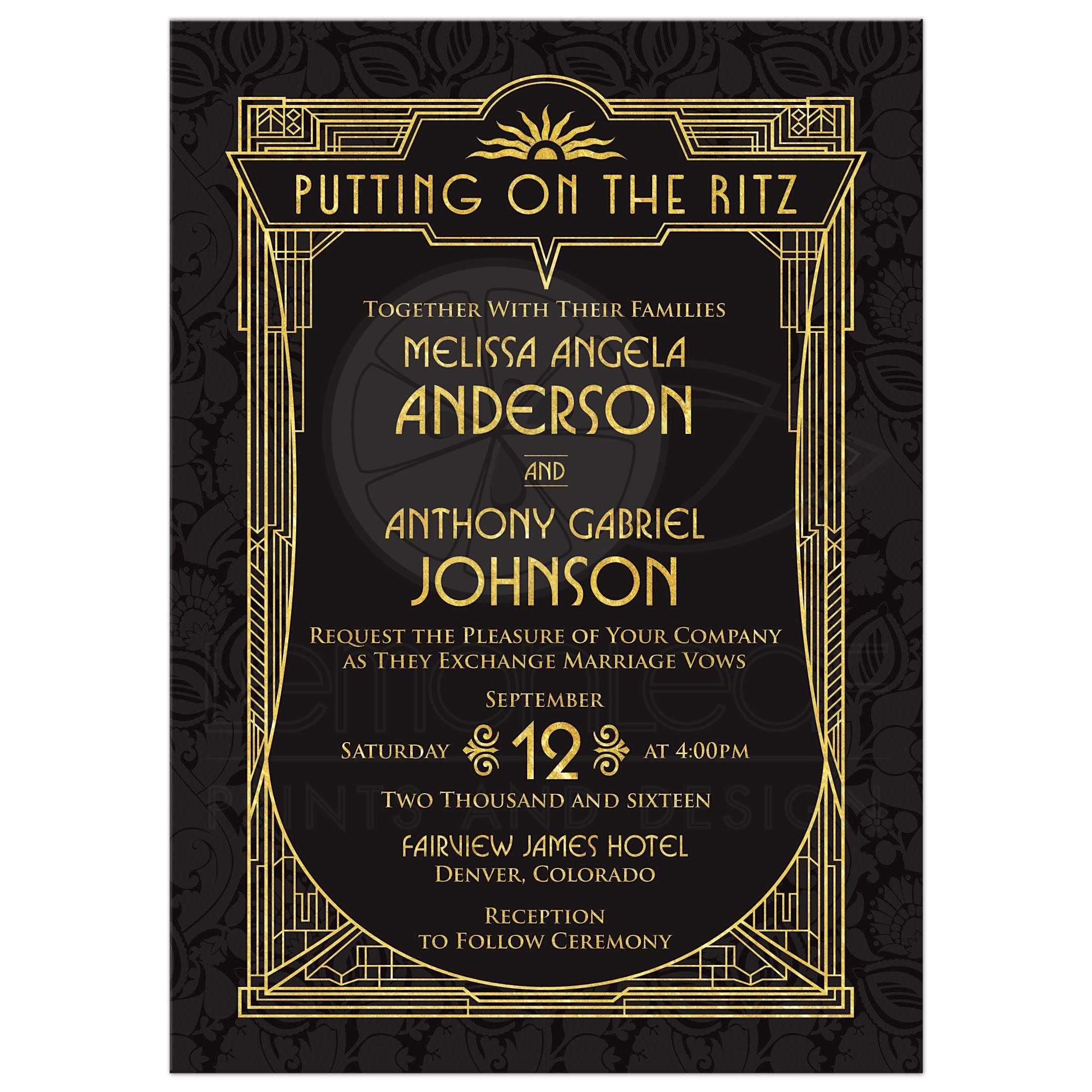 Art Deco Wedding Invitation Black Gold Roaring 20s Gatsby Style Art Deco Wedding Invitations Deco Wedding Invitations Art Deco Wedding Save The Dates