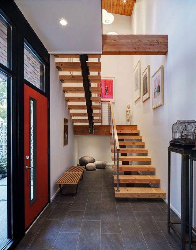 Wangentreppe Holz Treppenstufen-design Midvale Courtyard-Haus - ideen moderne designtreppen individuellen wohnstil