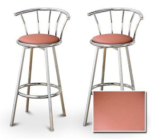 Pleasing 2 Peach Vinyl Specialty Custom Chrome Barstools With Creativecarmelina Interior Chair Design Creativecarmelinacom