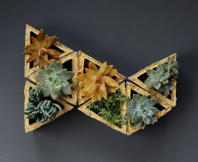 A funky #DIY that adds living color to your walls: Concrete Modular Geometric Wall Planters! /ES