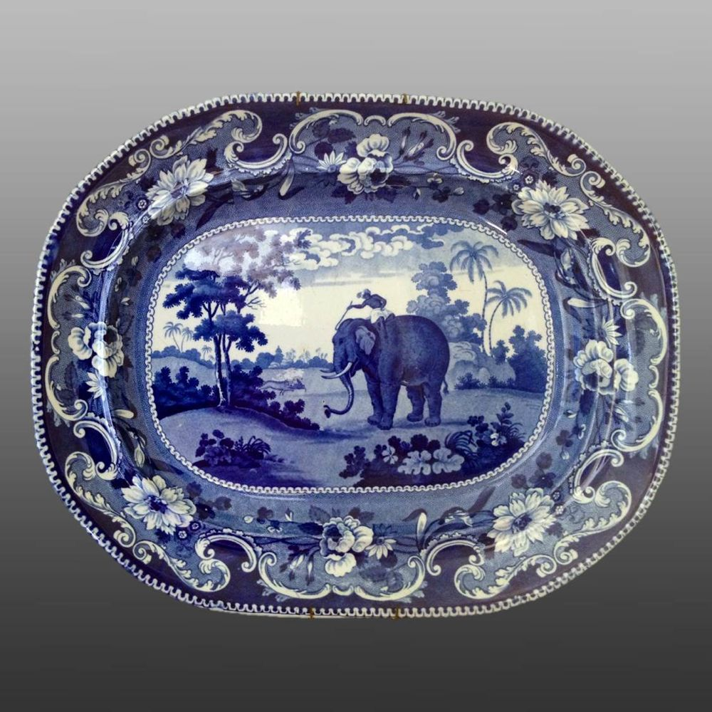Elephants in blue and white earthenware Elephants in blue and white earthenware