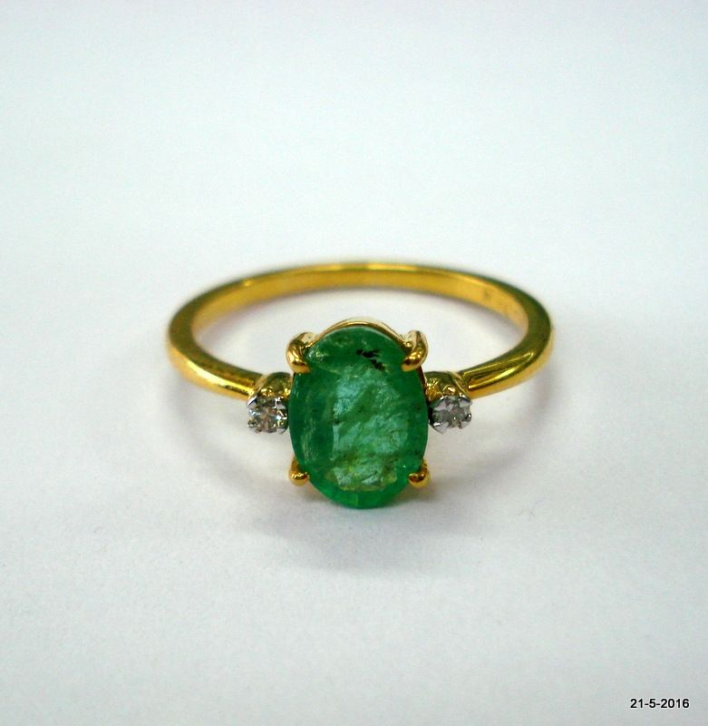 14kt gold ring from rajasthan india. Nice handmade design sated emerald and Diamond    gemstones, good for jewellery collection.    Usa ring size - 6.5 (we can adjust the size)  Top width - 8 mm  weight - 1.9 grams  material - 14kt yellow gold, emerald & diamond gemstones. | Shop this product here: spreesy.com/indiantribaljewellery/18 | Shop all of our products at http://spreesy.com/indiantribaljewellery    | Pinterest selling powered by Spreesy.com